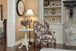 winged chair and accessorized table