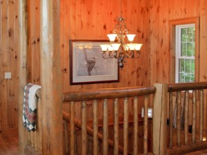 Cottage stairwell and cathedral ceiling